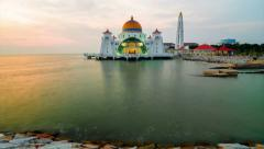 Malacca Straits Mosque 4k Timelapse, Malacca, Malaysia Stock Footage