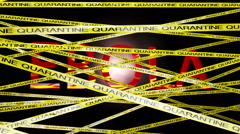 Ebola Behind Quarantine Signs 1 Matte Stock Footage