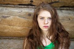 Stock Photo of portrait of the beautiful red haired girl