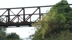 Remains of the truss bridge between Elten and Griethausen + pan brick column Stock Footage