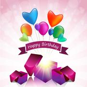 Happy birthday card with magic gift box and colored balloon Stock Illustration