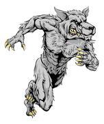 Werewolf wolf sports mascot running Piirros