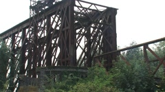 Remains of the truss bridge between Elten and Griethausen + zoom out Stock Footage