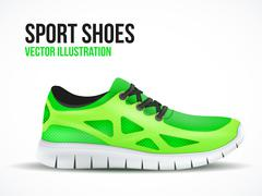 Running green shoes. Bright Sport sneakers symbol. - stock illustration