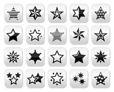 Stars black buttons with reflection isolated on white Stock Illustration