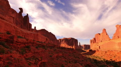 4K Arches Timelapse 02 Sunset at Park Avenue Courthouse Towers Utah USA Stock Footage