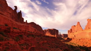 Stock Video Footage of 4K Arches Timelapse 02 Sunset at Park Avenue Courthouse Towers Utah USA