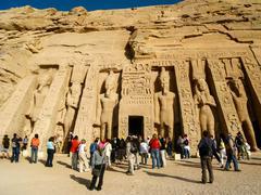Tourists at the Temple of Hathor/Nefertari at Abu Simbel, Egypt - stock photo