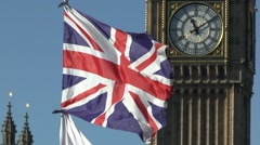 Union flag in front of the Elizabeth Tower, (or Big Ben), London. Stock Footage