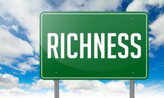 Richness on Green Highway Signpost. Stock Illustration