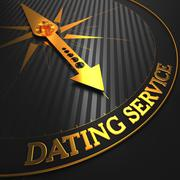 Dating Service - Golden Compass Needle. - stock illustration