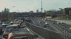 West Berlin 1976: heavy traffic in the highway Stock Footage