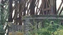 Overgrown remains of a truss railway bridge across the (old) river Rhine Stock Footage