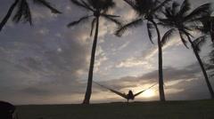 Girl Hammock in Hawaii Stock Footage