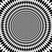 Concentric abstract symbol, rhomb - optical, visual illusion Stock Illustration