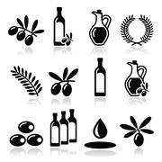 Olive oil, olive branch icons set - stock illustration