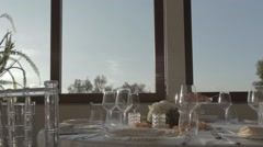 Wedding table dolly shot Stock Footage