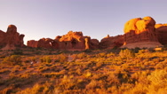 Stock Video Footage of 4K Arches Timelapse 05 Sunset at Windows Section Double Arch Utah USA