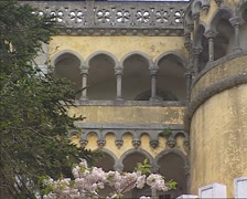 Exterior Pena National Palace, gallery with contaminated plastered walls Stock Footage