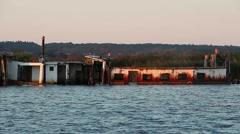 Sunken ship on the sea Stock Footage