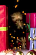 Gifts, glitters, spheres and stars. Stock Photos