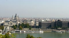 Budapest cityscape from castle view with chain bridge and St. Stephen's Basilica Stock Footage