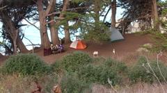 Camping near the coast Stock Footage