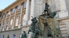 Slow Motion fountain in Budapest Buda Castle Stock Footage