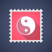 Stock Illustration of mail stamp icon with a ying yang sign