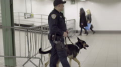 Police Dog German Shepherd Subway Cop New York City NYC - stock footage