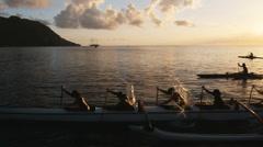 Pacific islanders in an ocean canoe Stock Footage