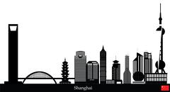 shanghai city skyline - stock illustration
