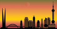 Shanghai city skyline Piirros
