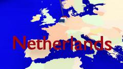 Worldmap Zooms to the Netherlands Stock Footage