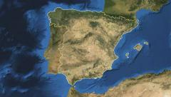 Spain. 3d earth in space - zoom in on Spain outlined on green 4k Stock Footage
