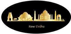 new delhi india skyline - stock illustration