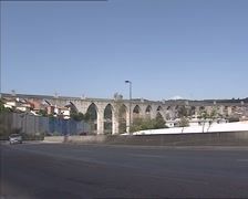 Aguas Livres Aqueduct (1748) across the Alcantara valley, Lisbon, Portugal. Stock Footage