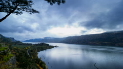 Stock Video Footage of Columbia River Gorge at Hood River OR at Sunset with Moving Clouds Time Lapse