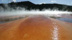 Vivid color and fog in Grand Prismatic Spring Stock Footage