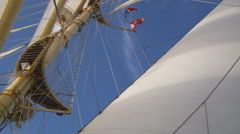 Yacht mast and flags Stock Footage