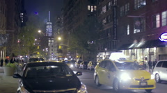 Taxi Cab Freedom Tower Greenwich Village Manhattan NYC Night Slow Motion Stock Footage