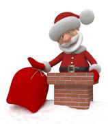 3d santa claus on a roof - stock illustration