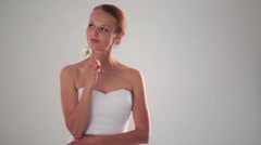 Portrait of gorgeous bride on her wedding day - stock footage