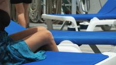 Woman sunbathing on a cruise ship Stock Footage