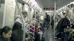 Subway Train Interior Inside Passengers Riding Commuting NYC Commuters Stock Footage