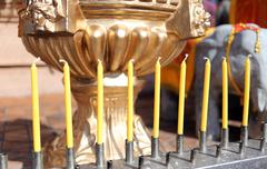 candles for worship according to belief good luck. - stock photo