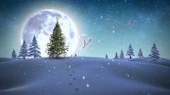 Frohe weihnachten message appearing in snowy landscape Stock Footage