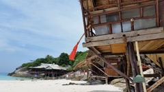 Huts on beach Beach Racha Island Stock Footage