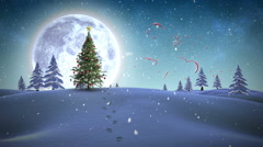 Happy new year message appearing in snowy landscape - stock footage