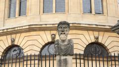Close up herm bust head statue, sheldonian theatre, oxford, england Stock Footage